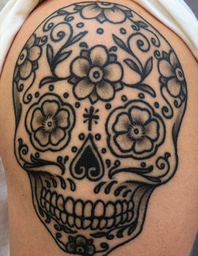 meksikansk kranie de dødes dag diadelosmuertus mexicanskull tatovering