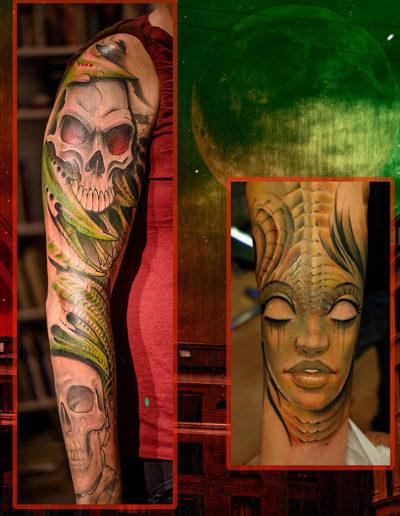 kranie tatovering biomekanisk kranie