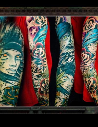 girlhead pigeansigt tatovering