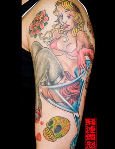 pinup dame tatovering