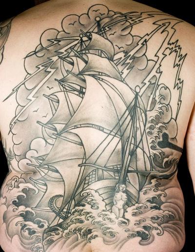 sejlskib tatovering